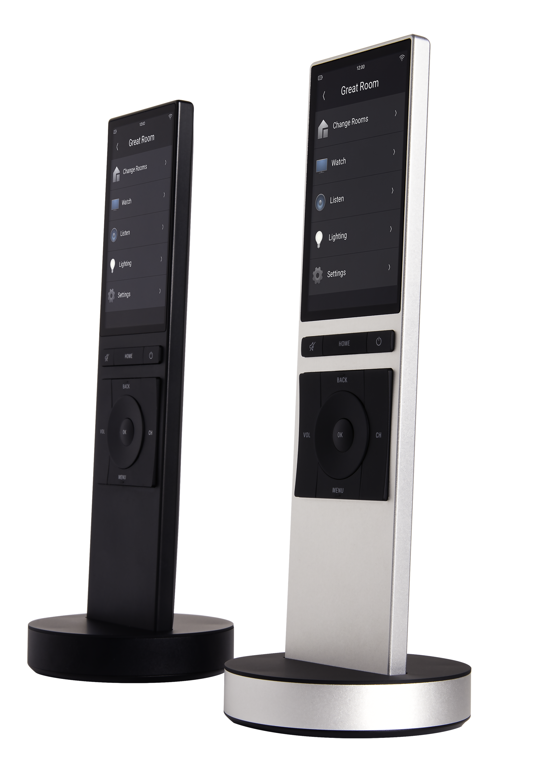 Diaľkový ovládač NEEO od Control4 vo farbe striebornej a čiernej